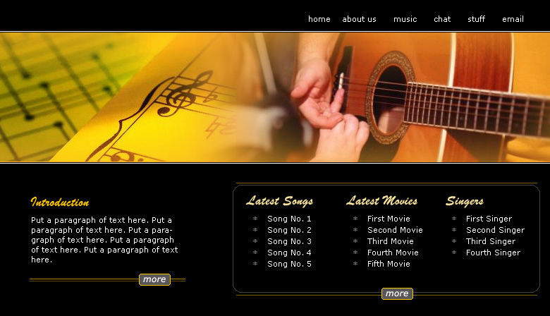 Music Website Template - Music website templates